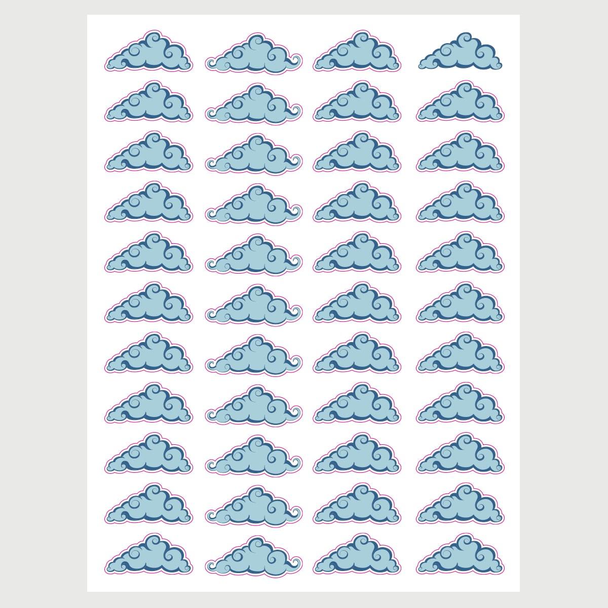 מדבקות קיר לחדרי ילדים עננים תכלת