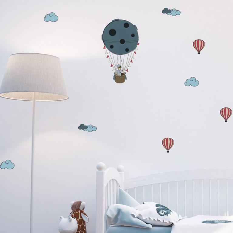 מדבקות קיר לחדרי ילדים כדורים פורחים