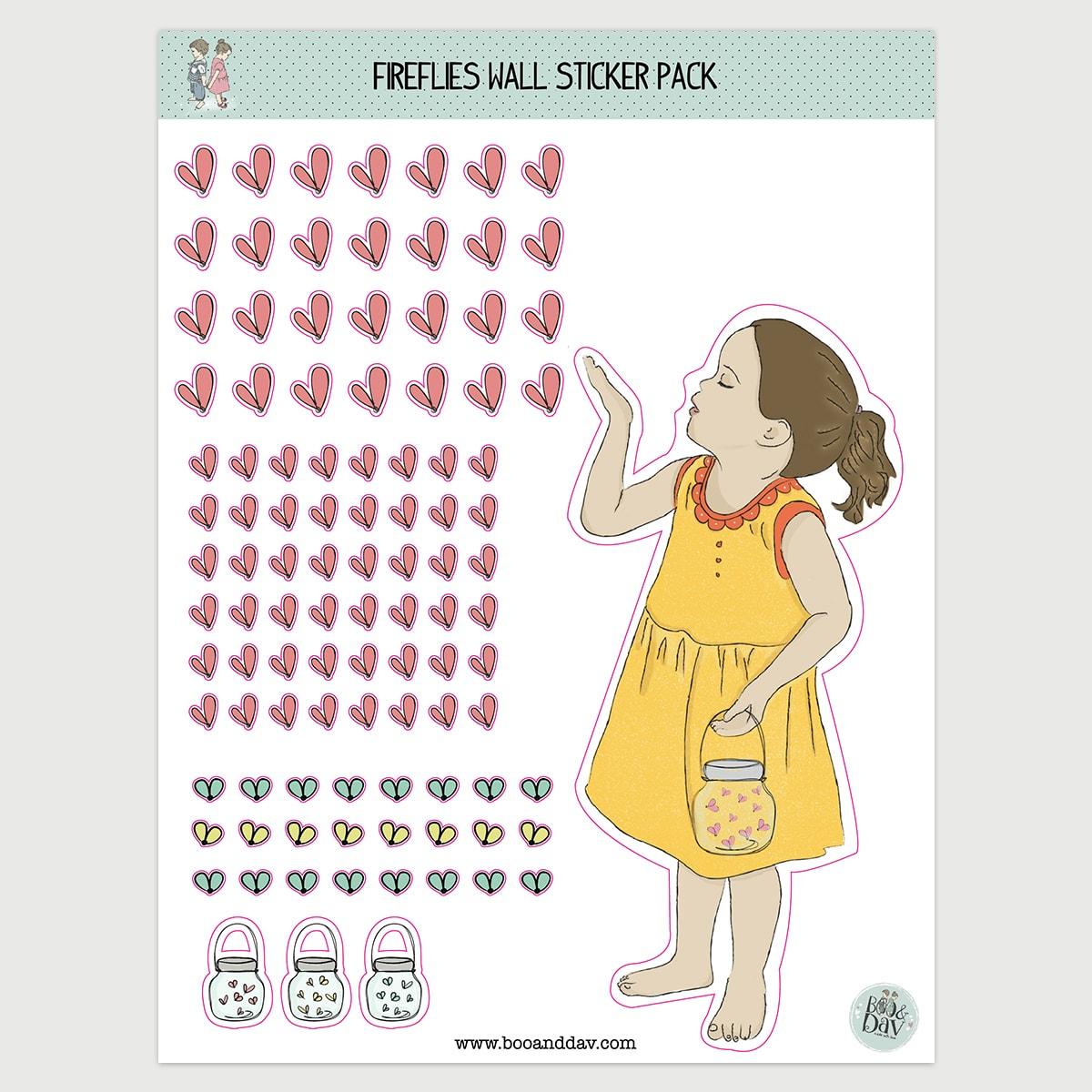 מדבקות קיר לחדרי ילדים לבבות