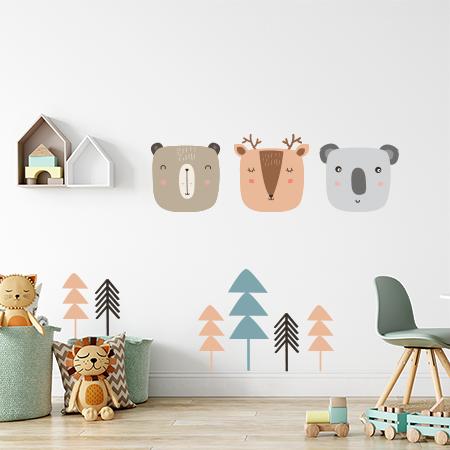 מדבקת קיר גדולה לחדר ילדים דגם חיות