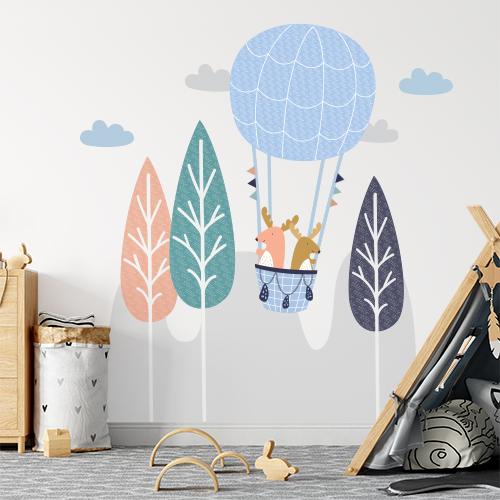 מדבקת קיר גדולה לחדר ילדים דגם כדור פורח