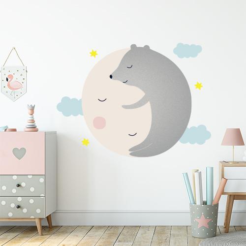 מדבקת קיר גדולה לחדר ילדים דגם דוב על הירח