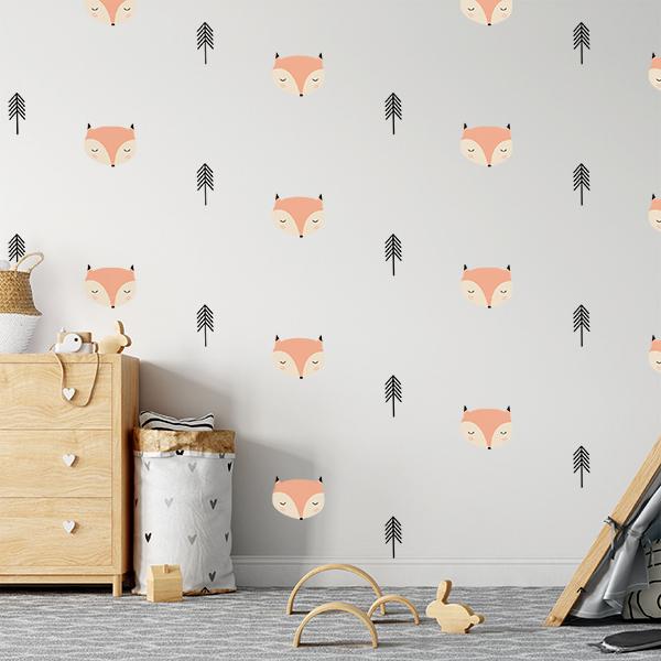 מדבקת קיר גדולה לחדר ילדים דגם שועלים וברושים