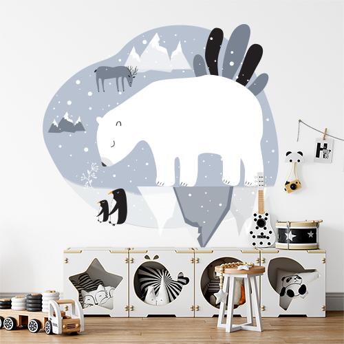 מדבקת קיר לחדר ילדים דגם דוב קוטב רקע אפור