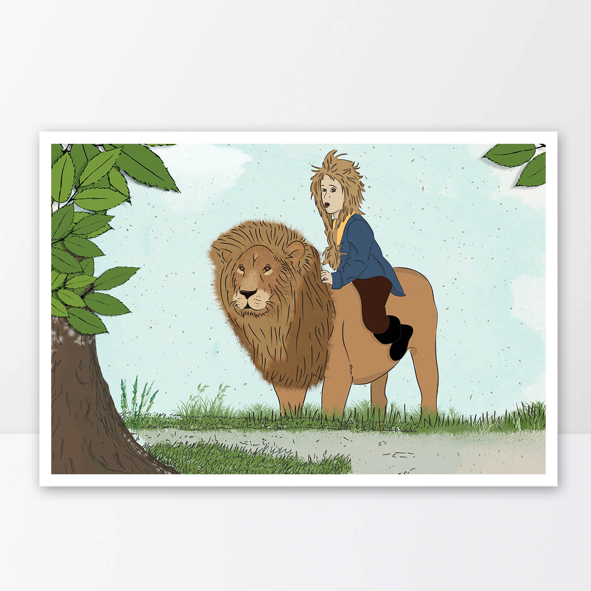 תמונה לחדר ילדים ילד על אריה