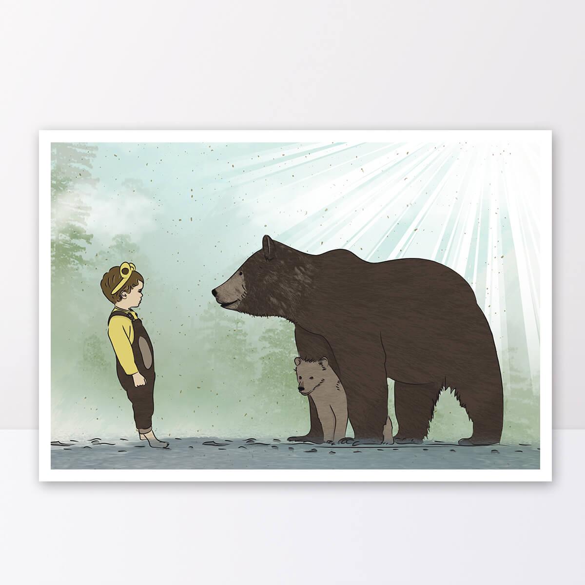 תמונה לחדר ילדים ילד עם דובי גריזלי