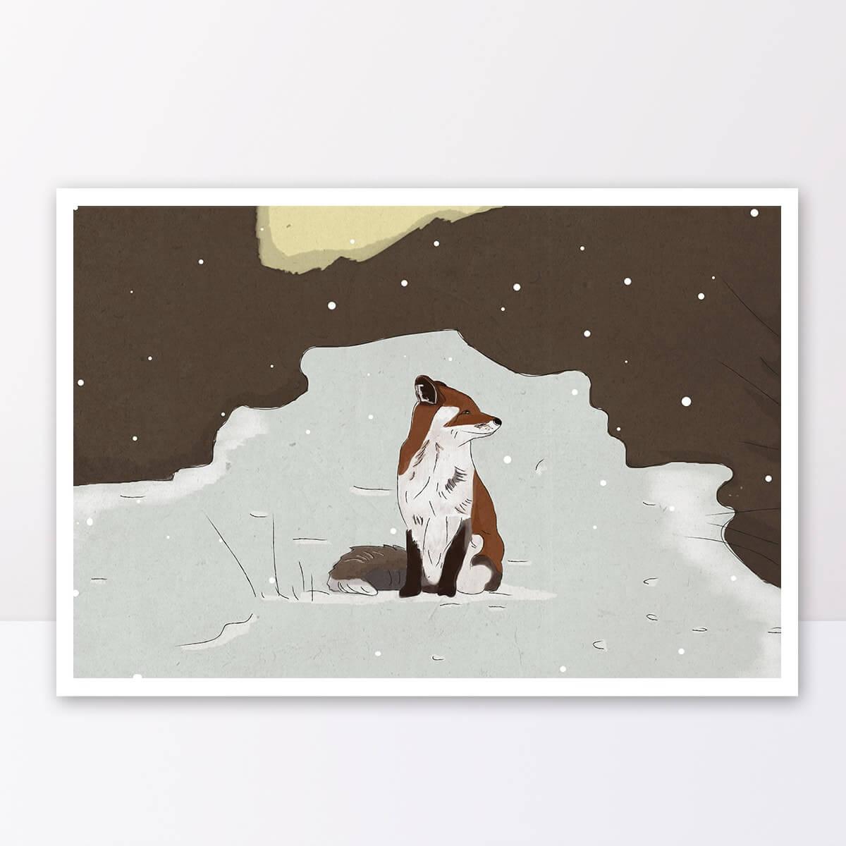 תמונה לחדרי ילדים שועל בקרח