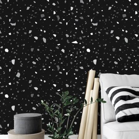 טפט לקיר דגם טרצו  06 שחור גוונים לבנים