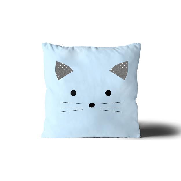 כרית נוי לחדר ילדים דגם חתול תכלת
