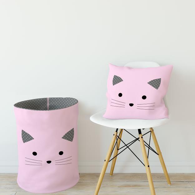 כרית נוי לחדר ילדים דגם חתול ורוד