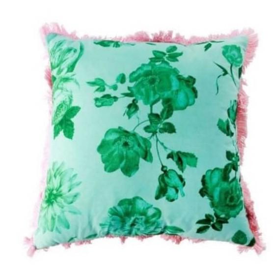 כרית נוי פרחונית ירוקה עפ פרנזים
