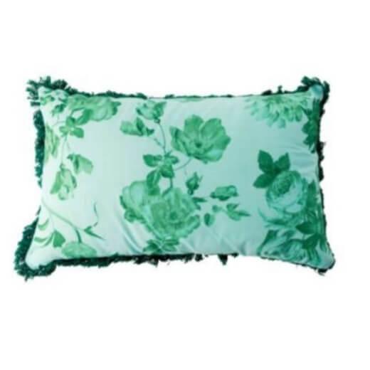 כרית נוי מלבנית ירוקה פרחונית