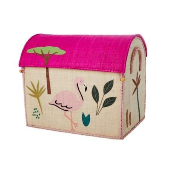 קופסת אחסון רפיה פלמינגו