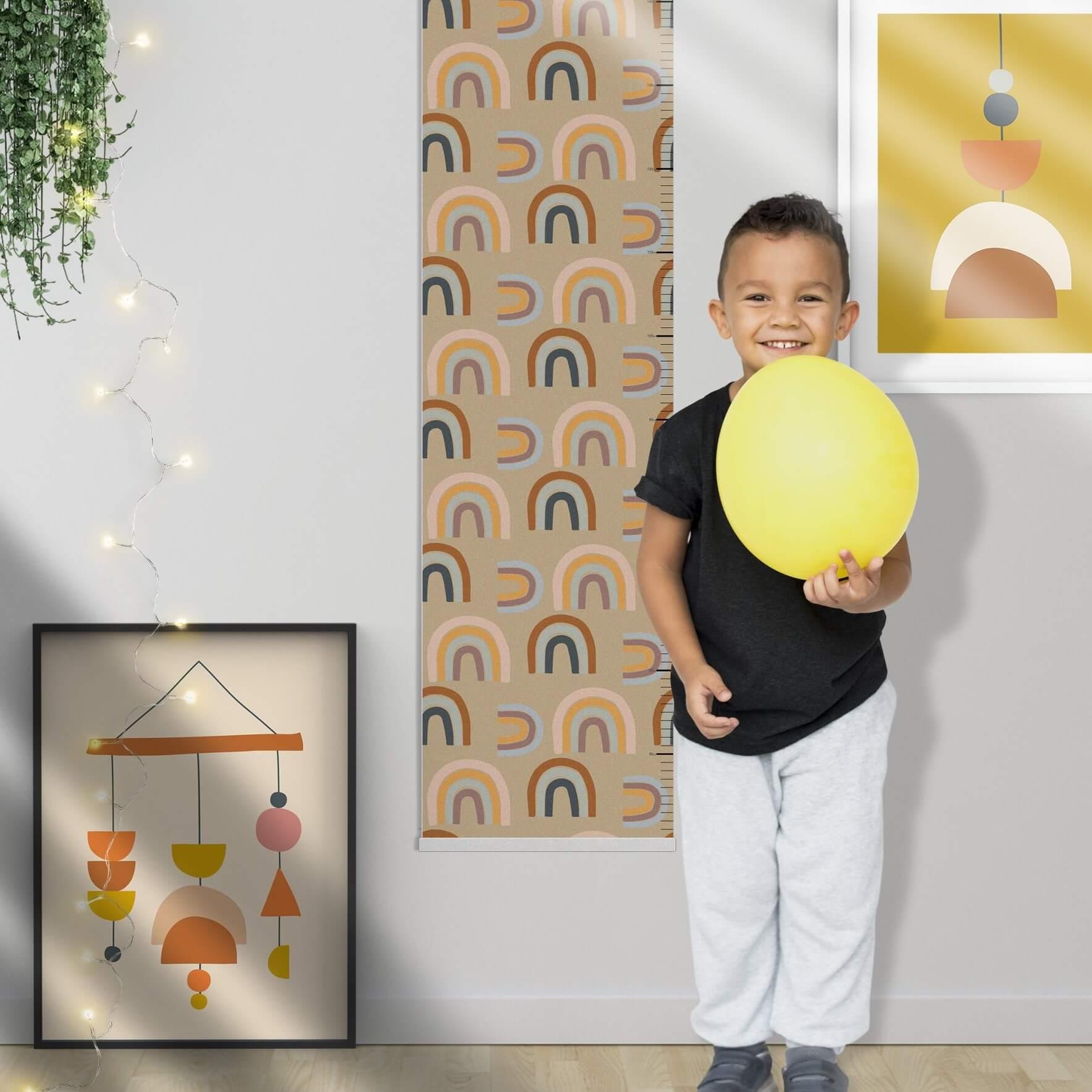 מד גובה לחדר ילדים דגם קשתות בגוון אדמה