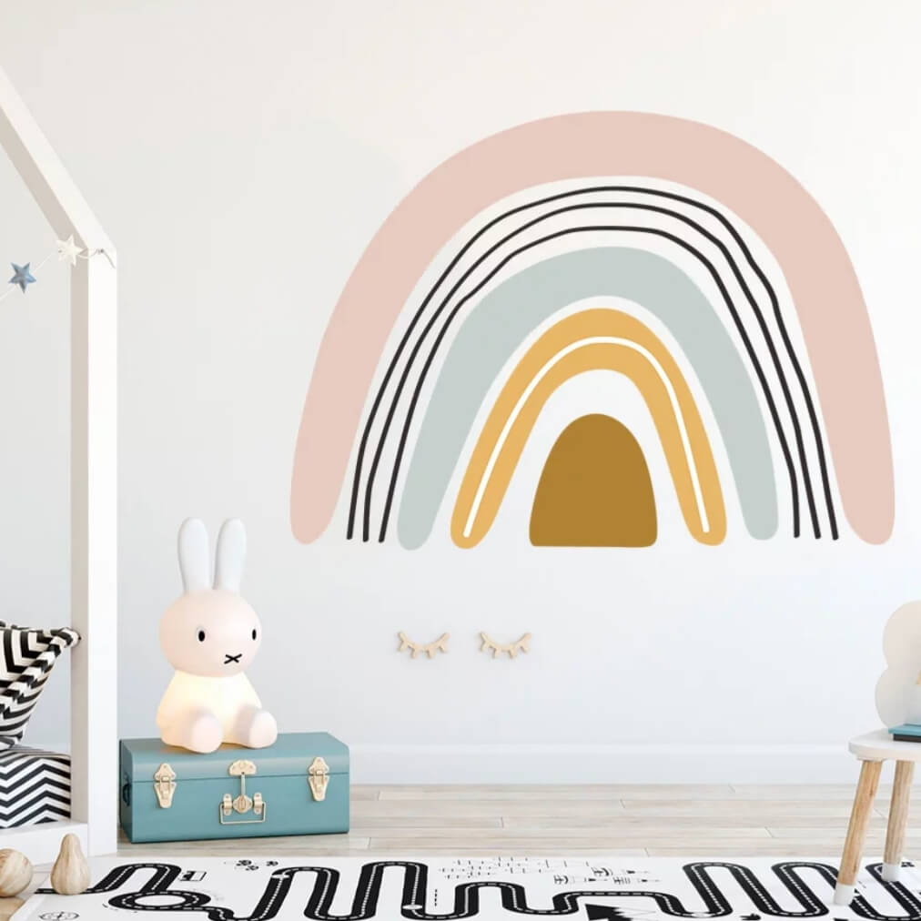 מדבקת קיר לחדר ילדים קשת שחור פודרה