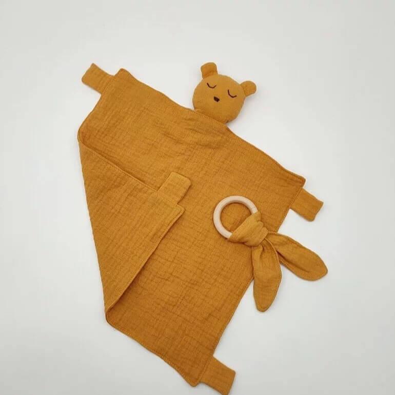 שמיכי לתינוק טטרה חרדל דגם דובי