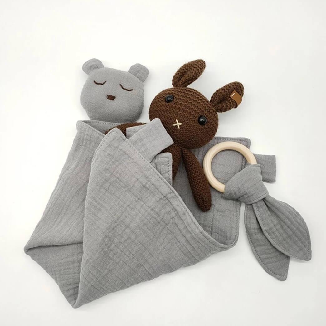 שמיכי לתינוק טטרה אפור תכלכל דגם דובי
