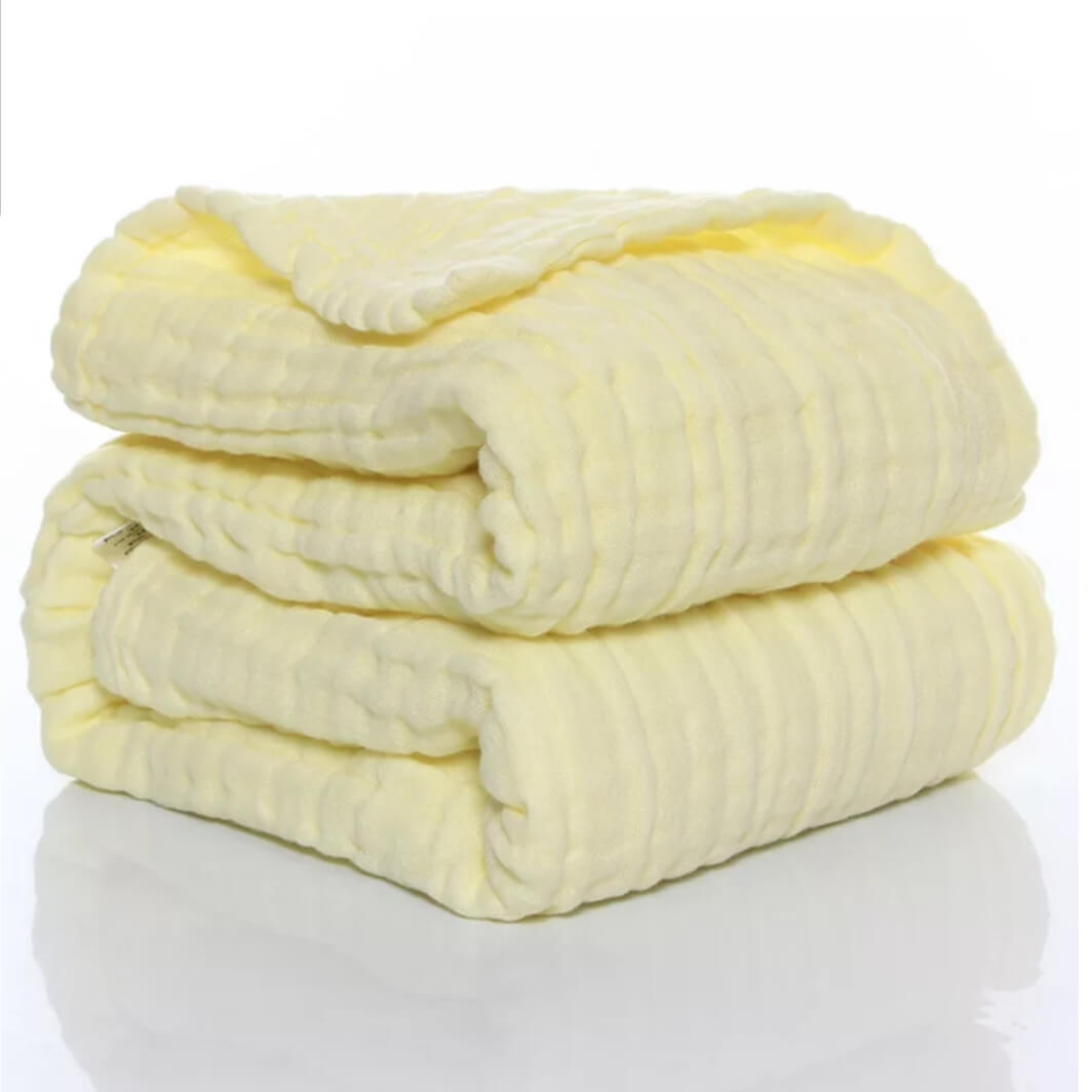 שמיכת טטרה למיטת תינוק גוון צהוב בננה