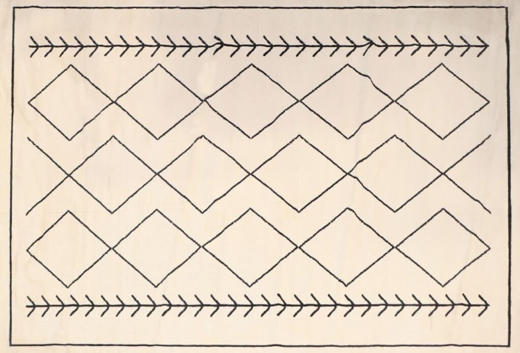 שטיח מעויינים שמנת 70/130
