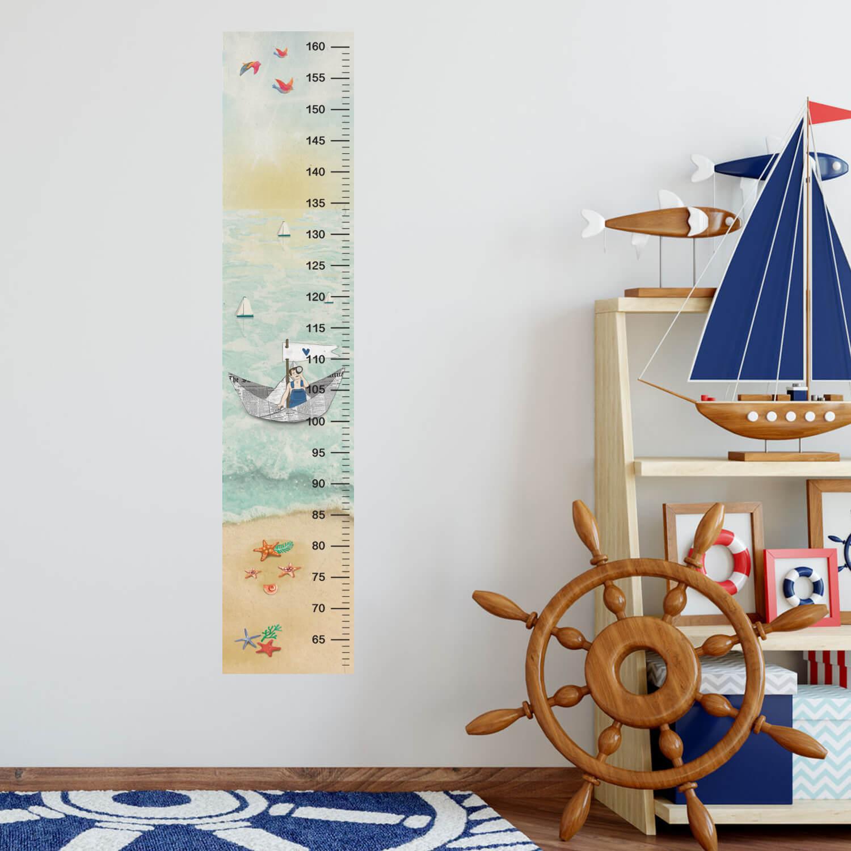 מד גובה לילדים מדבקה דגם ים