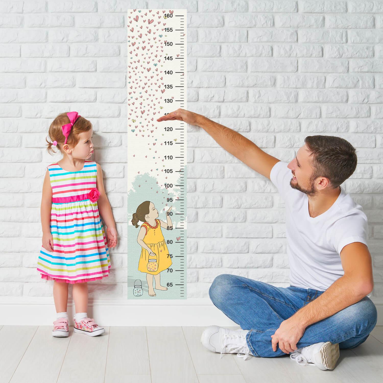 מד גובה לילדים דגם ילדה מפריחה לבבות