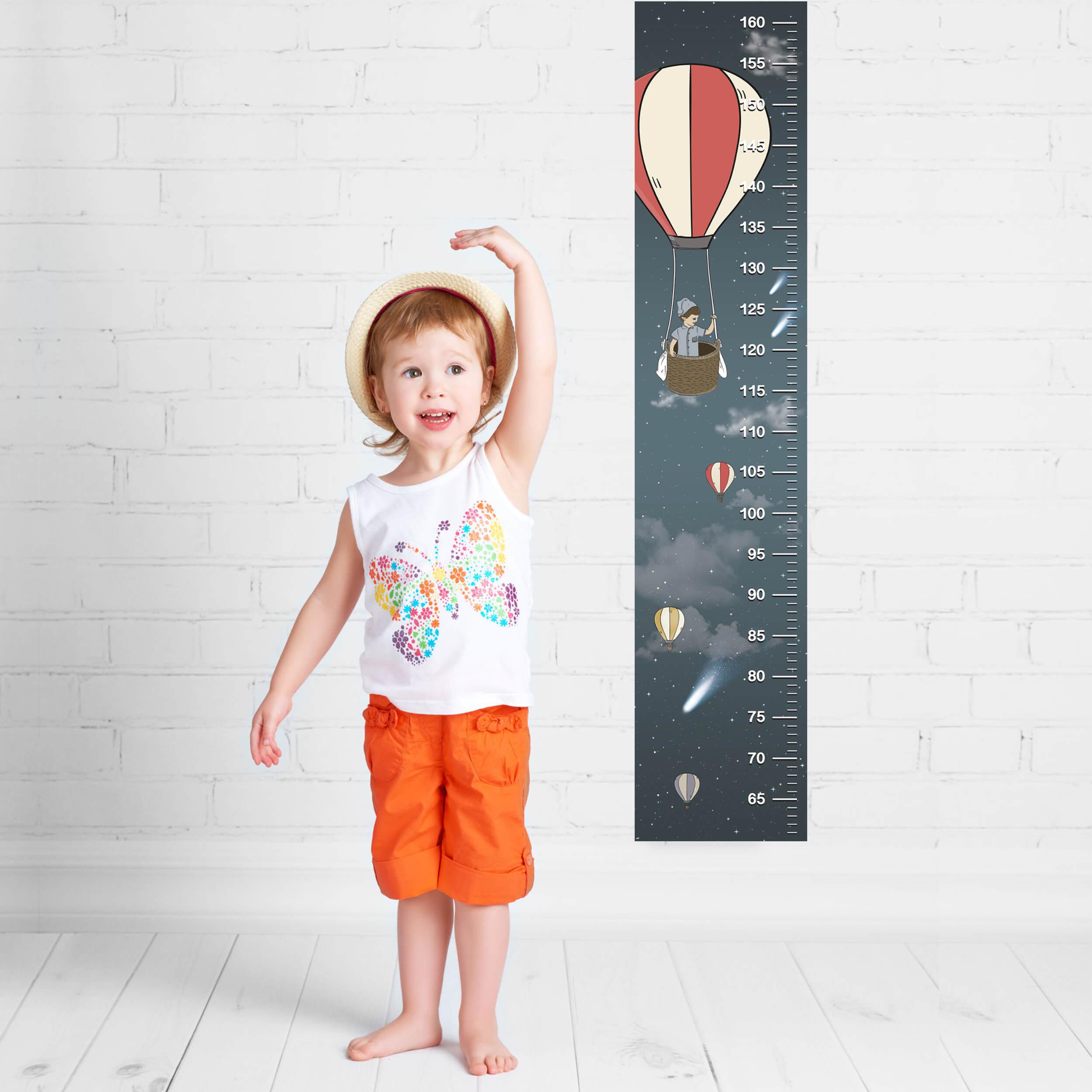 מד גובה לילדים כדור פורח מדבקה