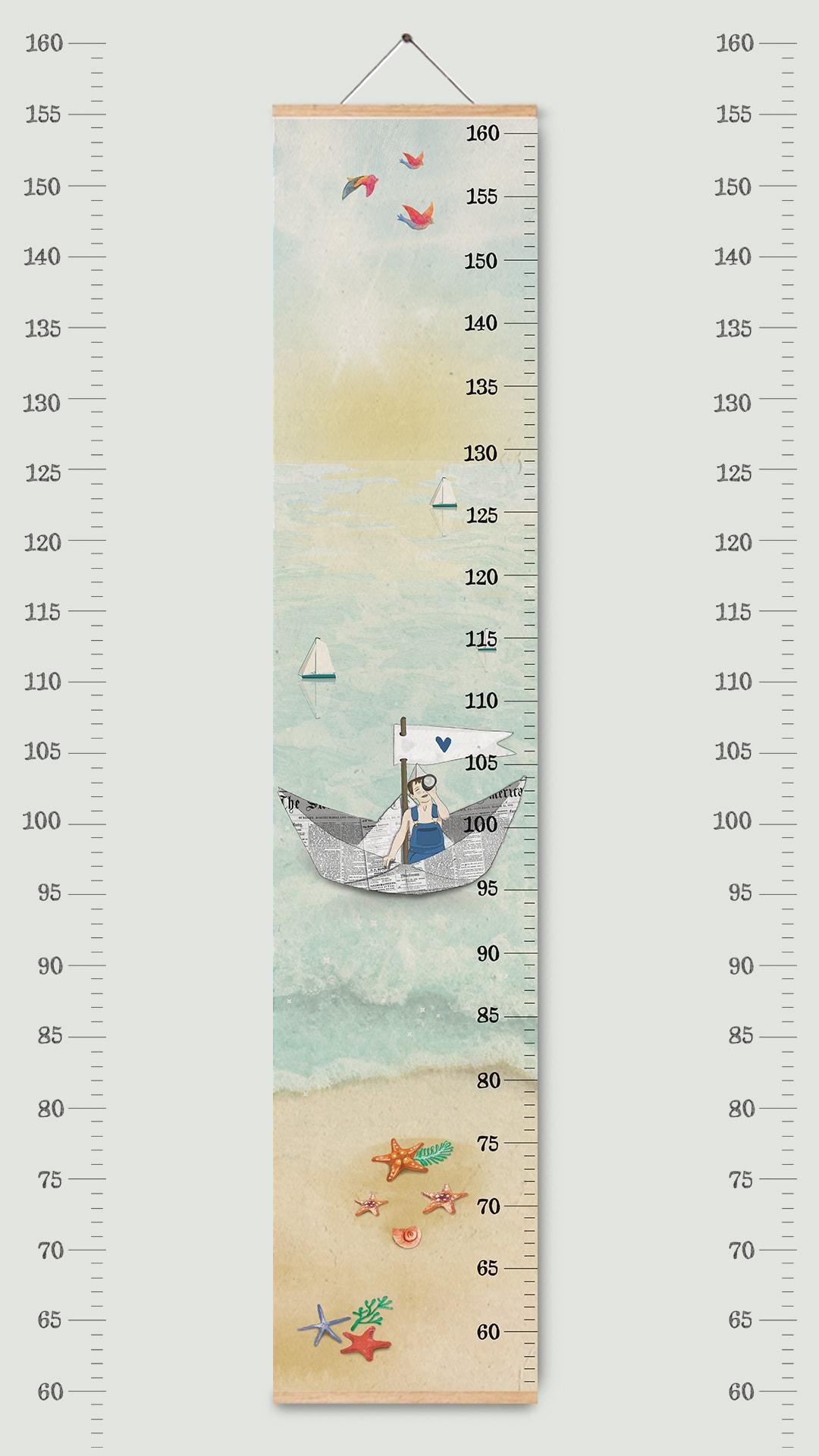 מד גובה לילדים קנוואס דגם ים