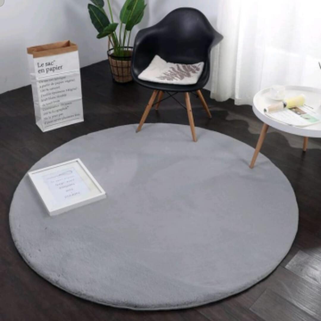 שטיח פרווה עגול קוטר 160 גוון אפור