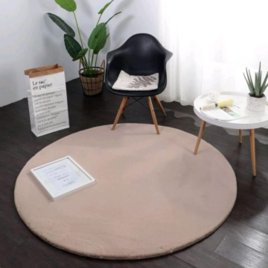 שטיח פרווה עגול קוטר 160 גוון בז