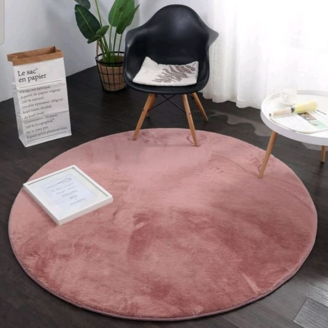 שטיח פרווה עגול קוטר 160 ורוד פודרה