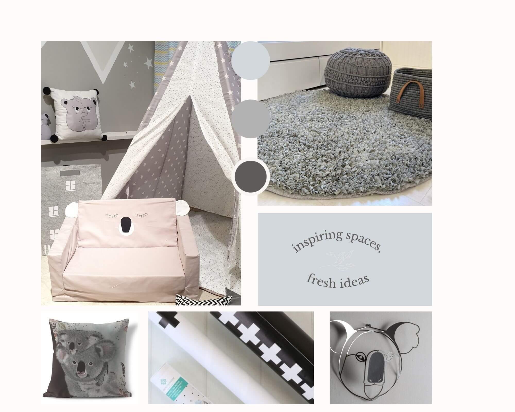 חבילה לעיצוב חדר אפור דגם קוואלה