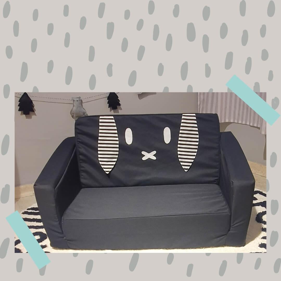 ספה לילדים דגם ארנבון שחור לבן