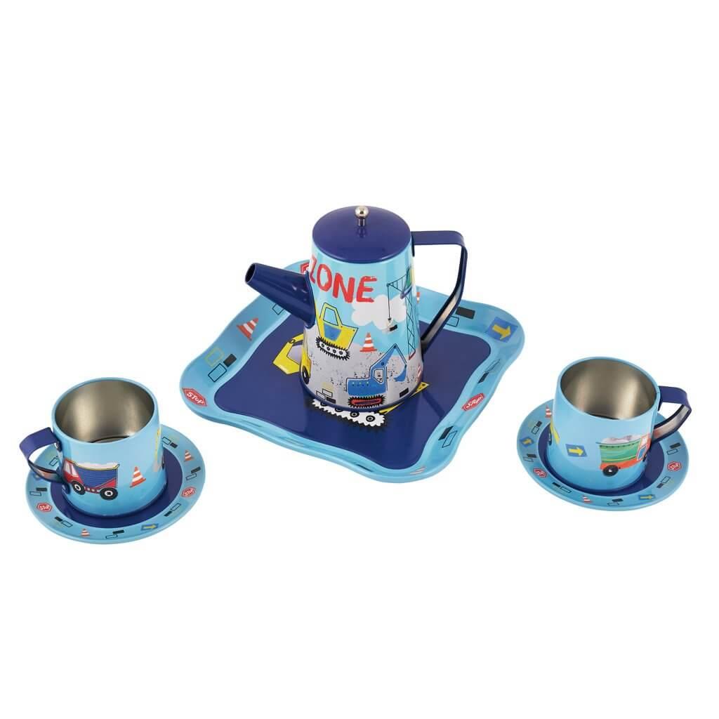 סט תה במזוודה הדפס לבנים
