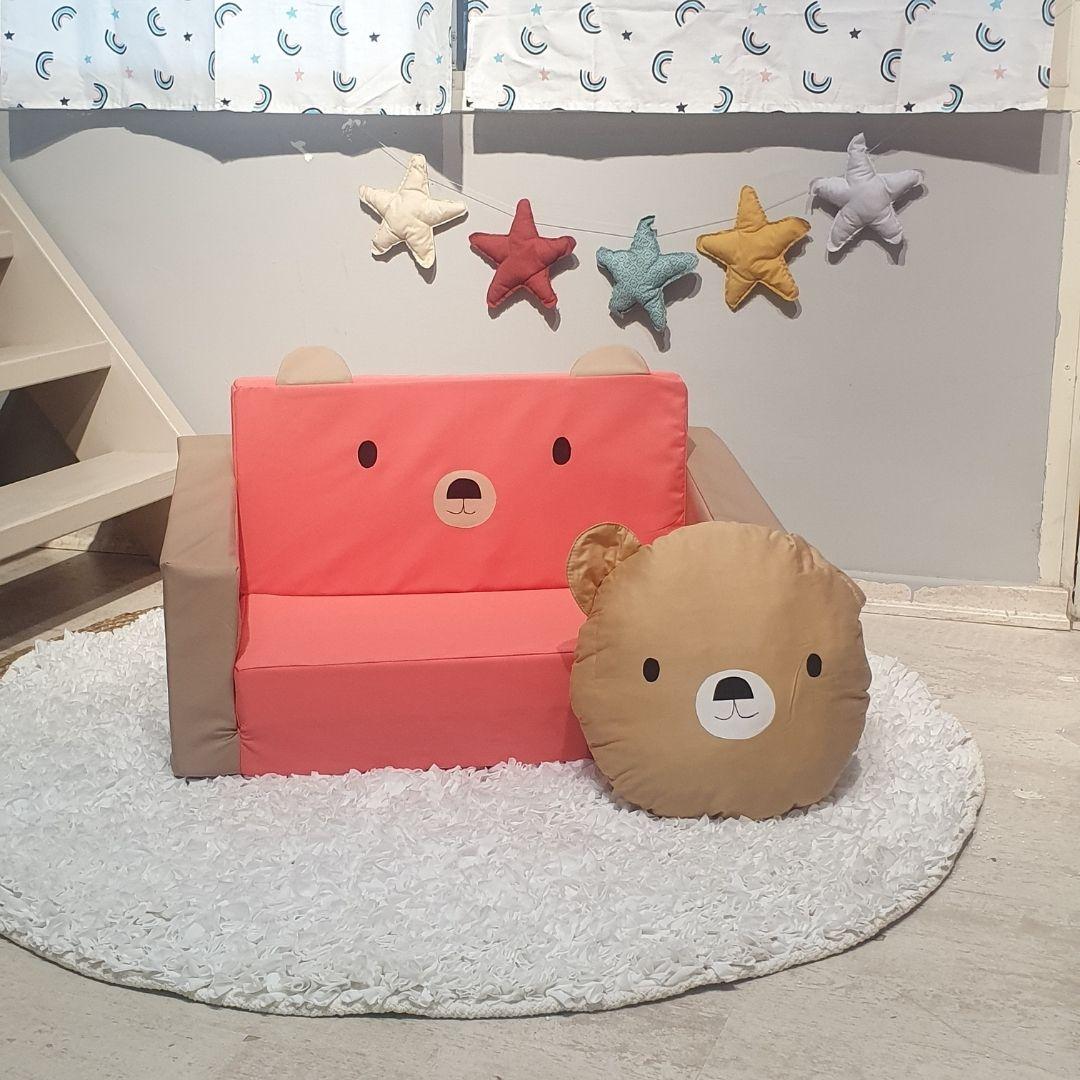 ספה לילדים דגם דובי ורוד