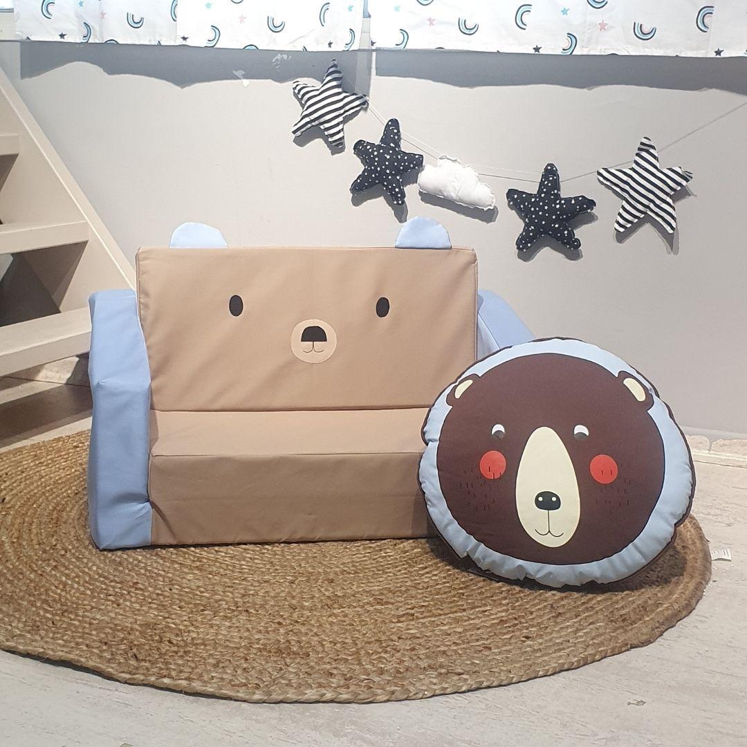 ספה לילדים דכם דובי מוקה עם תכלת