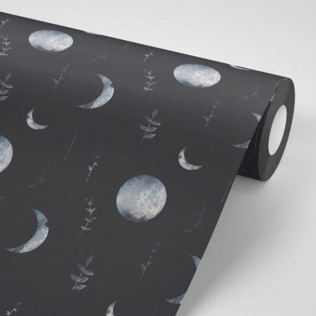 טפט לקיר שחור עם ירח