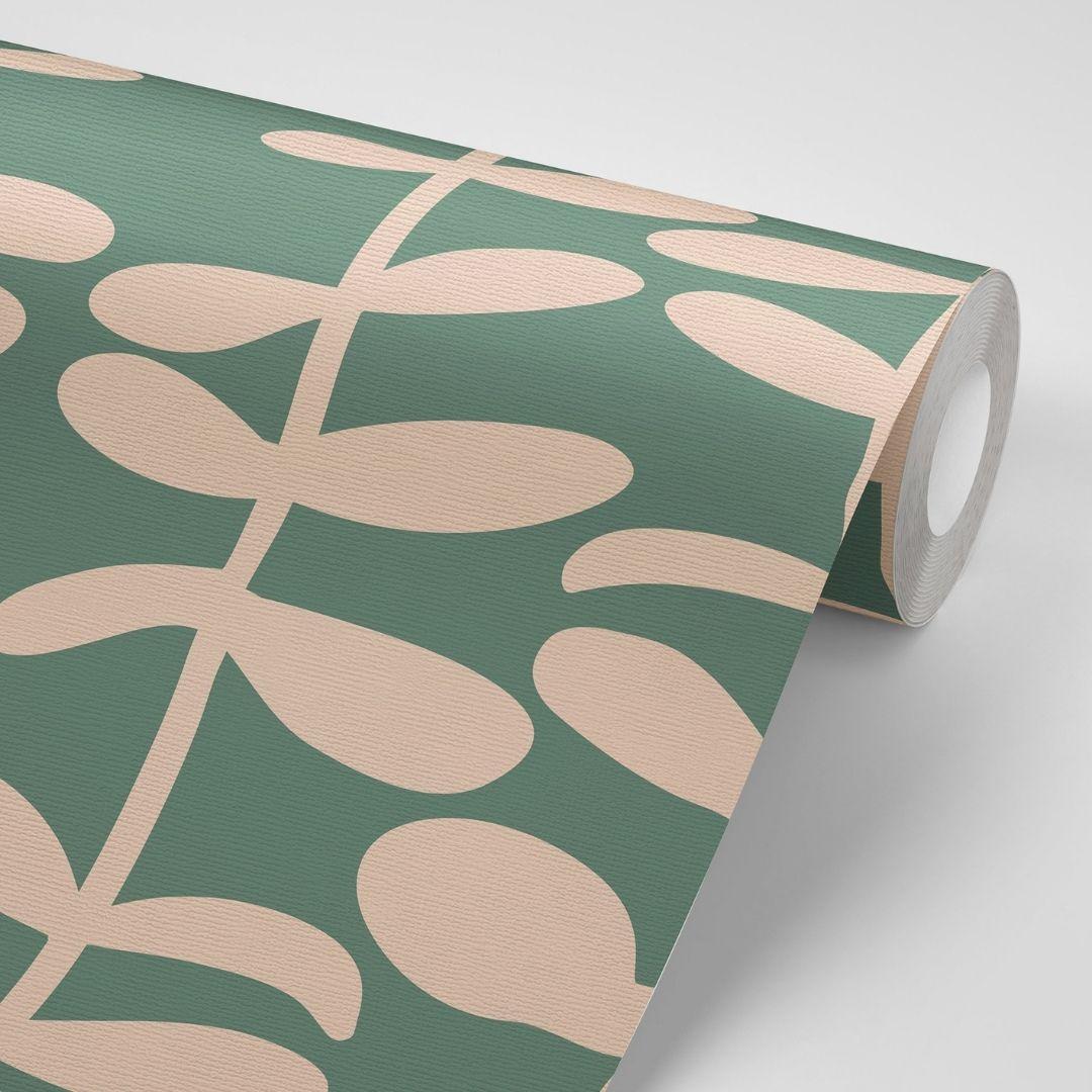 טפט לקיר ירוק עם עלים בבז
