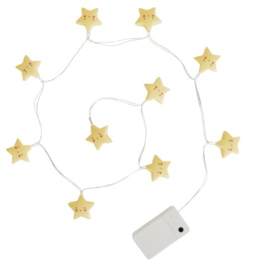 גרילנדת מנורות - כוכבים צהובים