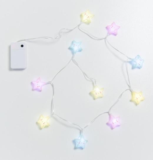 גרילנדת מנורות - כוכבים צבעוניים