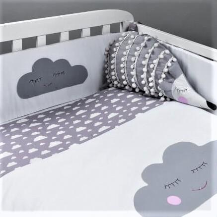סט מצעים למיטת תינוק דגם ענן אפור