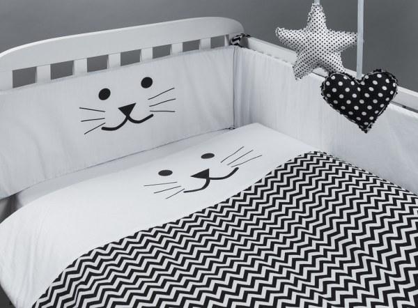 סט מצעים למיטת תינוק חתול שחור לבן