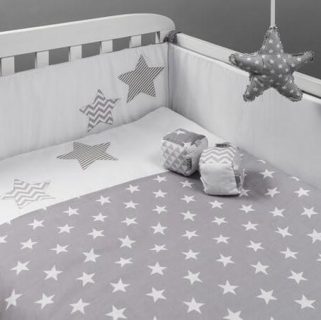סט מצעים למיטת תינוק דגם כוכבים אפורים