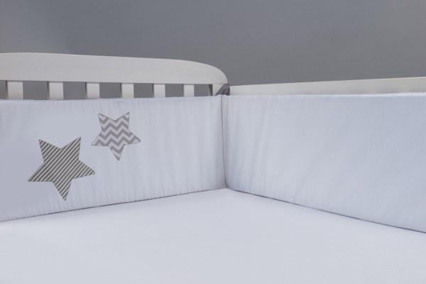 סט מצעים למיטת תינוק דגם כוכב אפור