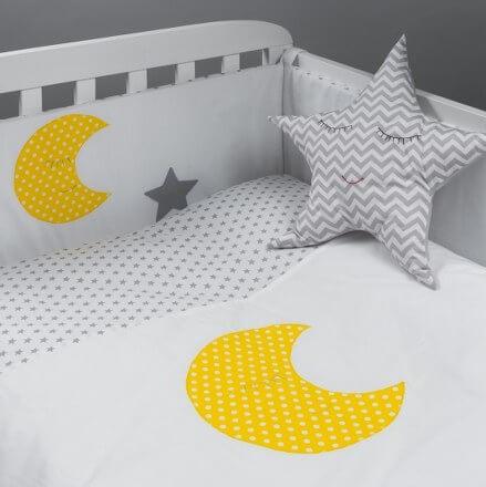 סט מצעים למיטת תינוק דגם ירח