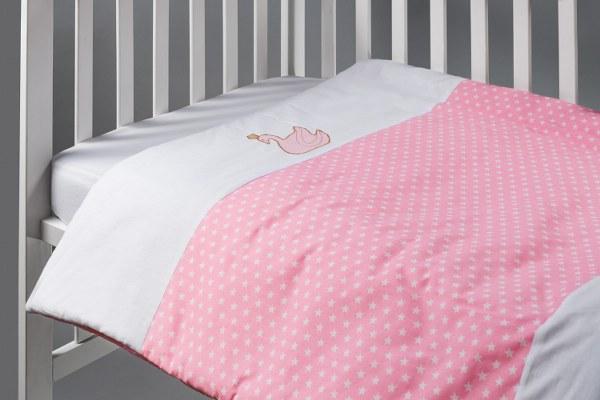 סט מצעים למיטת תינוק דגם ברבור