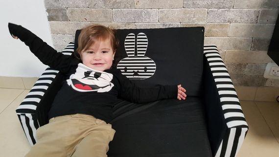 ספה לילדים מיפי שחור לבן
