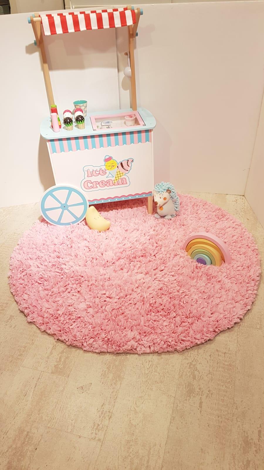 שטיח עגול לחדר ילדים ורוד בהיר 120 קוטר