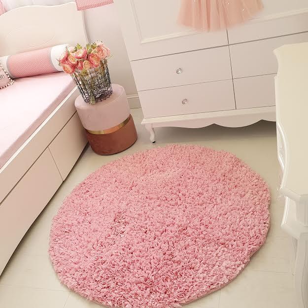 שטיח עגול לחדר ילדים ורוד בהיר 130 קוטר