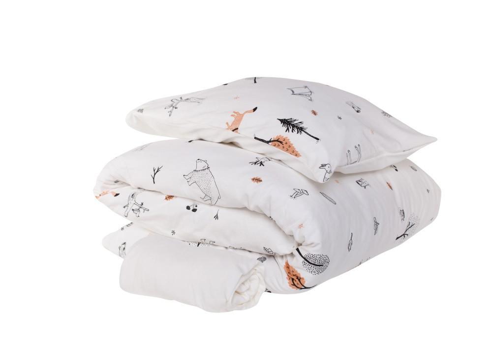 סט מצעים למיטת תינוק דגם היער הקסום לבן