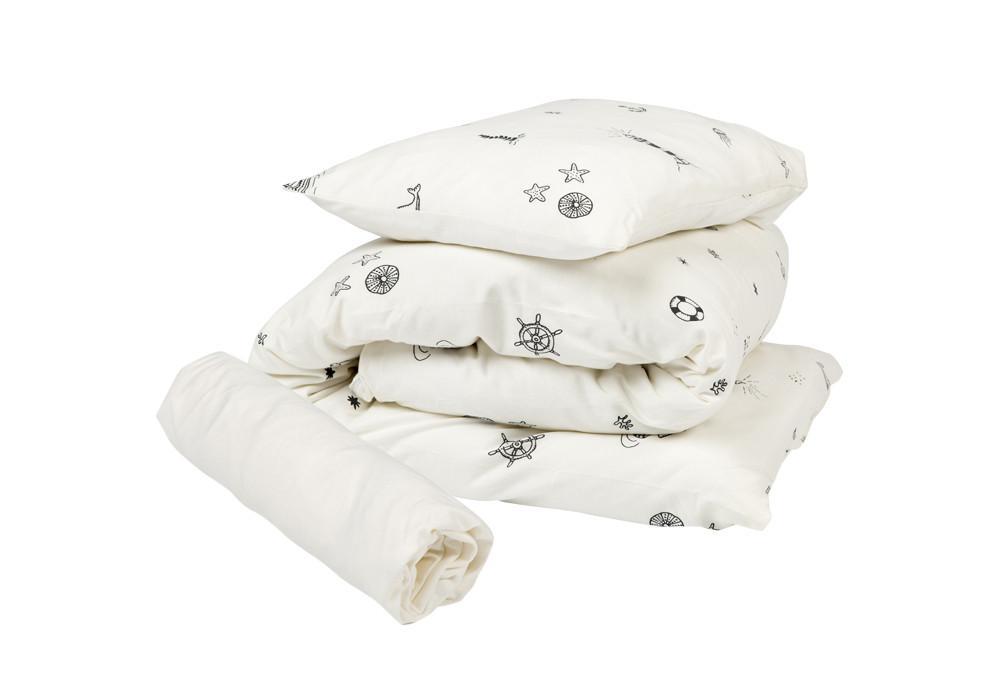 סט מצעים למיטת תינוק דגם ים לבן